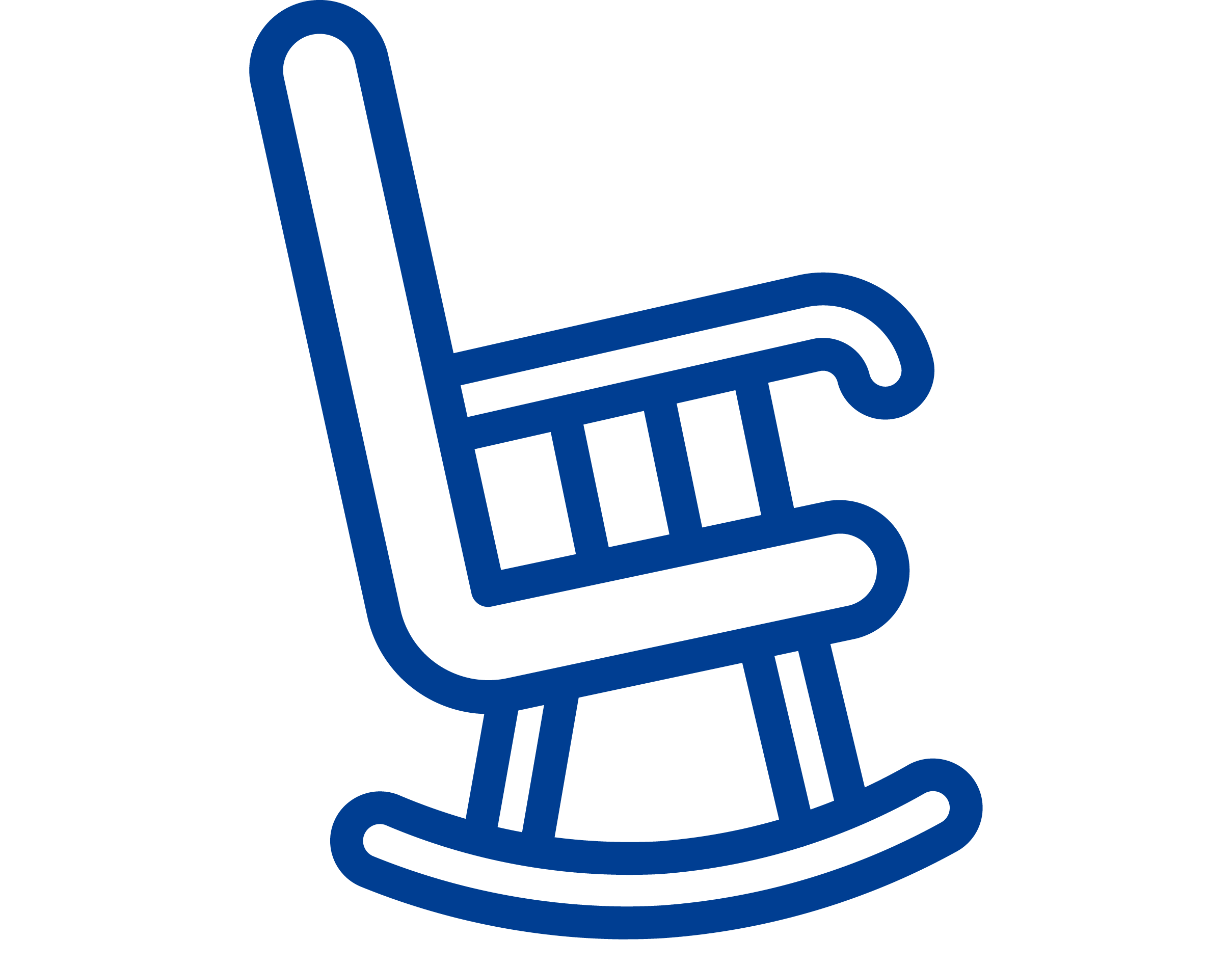 A blue icon of a rocking chair
