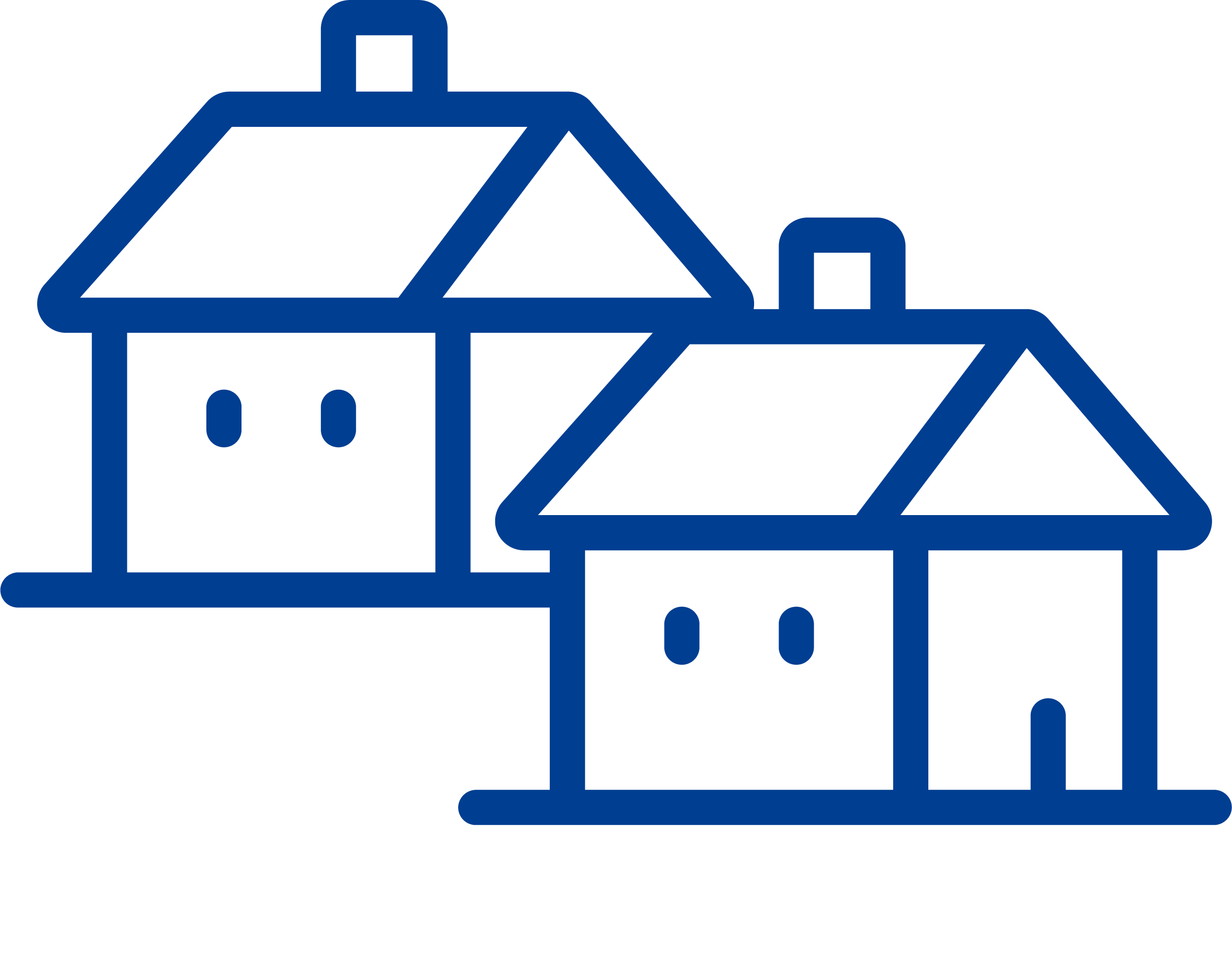 A blue icon of a house with a front door, a simple window, and a chimney