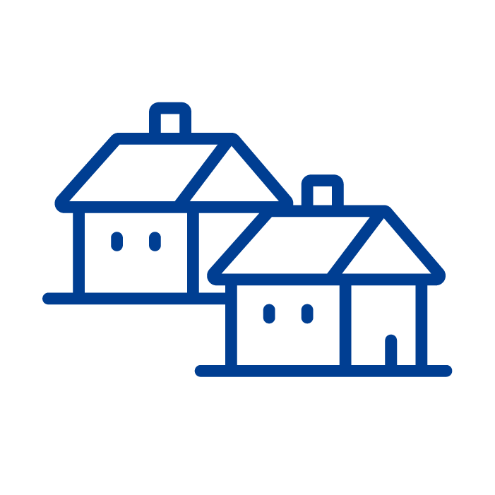 A simple blue icon of two houses