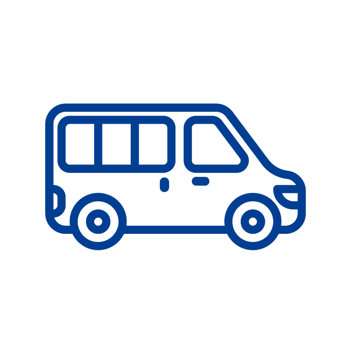 A simple blue icon of a mini bus