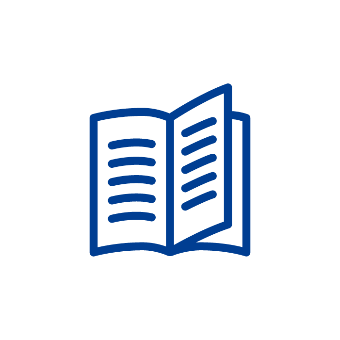 A blue icon of an open book with the right page half turned