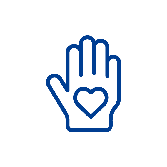 A blue icon of a hand with a heart symbol on the palm